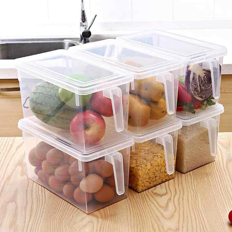 Geladeira da cozinha Organizador Caixa De Armazenamento Transparente Selo Gabinete Recipiente Organizador com Alça De Armazenamento De Grãos de Grãos de Alimentos