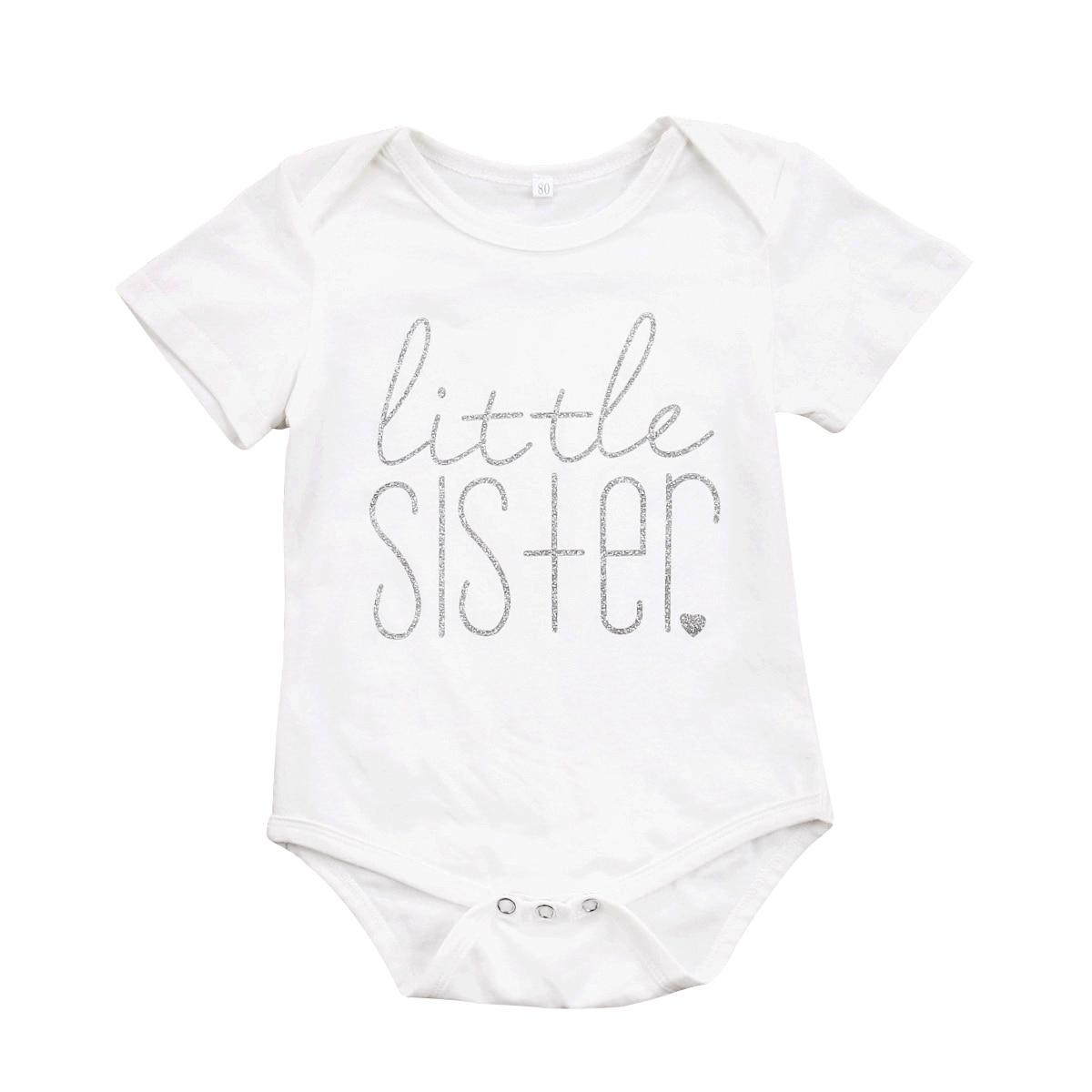 Familie Passenden Baumwolle Kleidung Kleine Schwester T-shirt Big Brother Strampler Outfit Overall Jungen MÄdchen T-shirt Kleidung Reich Und PräChtig