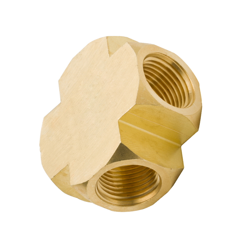 """Female Brass Pipe Fitting 4 Way Air Fuel 1//2/"""" Brass Cross NPT Barstock Fitting"""