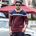 wine red long sleeve t shirt men 2xl- 7xl plus size t-shirt round collar strip patchwork tops men size 2xl 3xl 4xl 5xl 6xl 7xl
