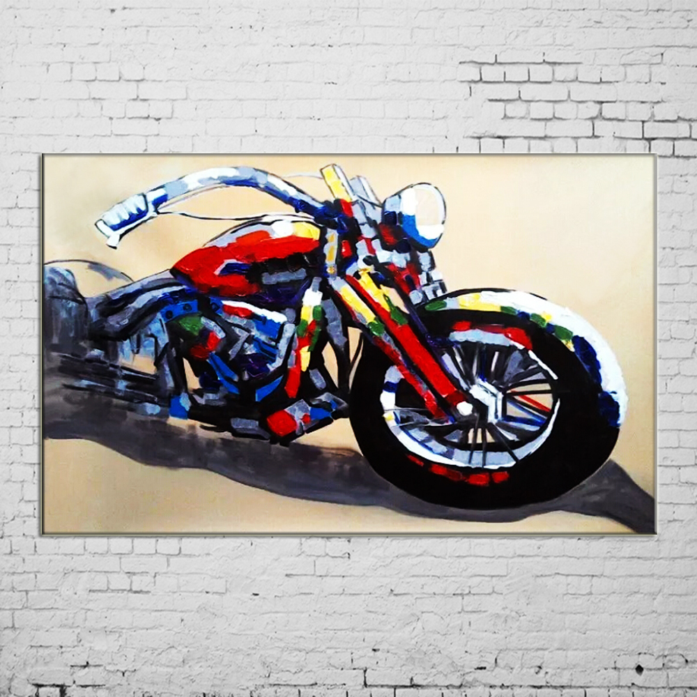 2015 Handmade Wall Painting Motorcycle Paintings Cool Picture On Canvas Abstract Home Decor Landscape Oil Painting Hang Pictures