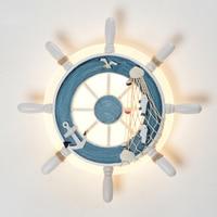 Mediterranean Style Decorative Wall Lamp Wooden Steering Wheel Helmsman Ship Rudder Cafe Background Children S Room