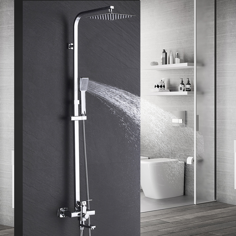 Bathroom Shower Faucet 8 Rainfall Shower Set Tub Mixer Faucet Wall Mounted Tap With Hand Sprayer
