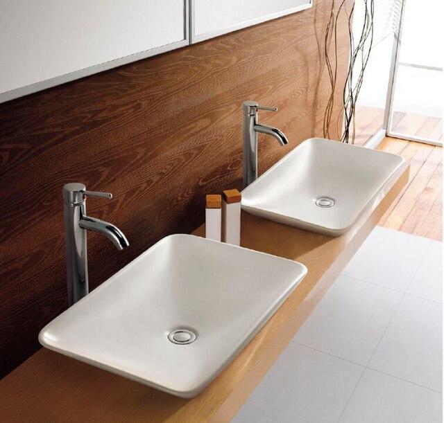 New Countertop Slim Rectangular Bathroom Ceramic Art Wash Basin ...