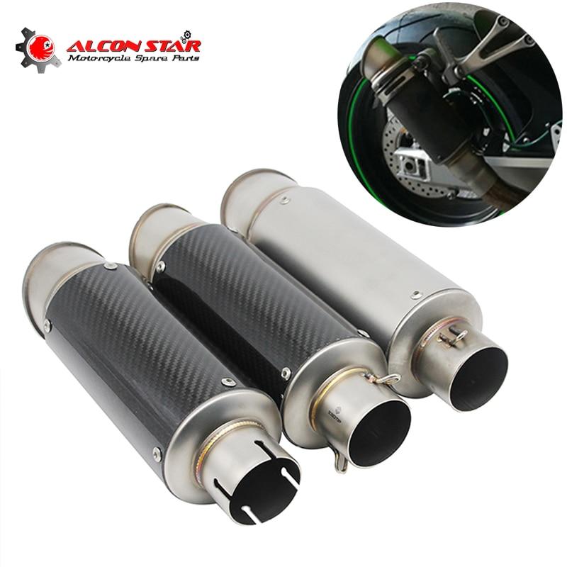 Alconstar 51mm Motorcycle Exhaust Muffler Escape Exhaust Mufflers Carbon Fiber Exhaust Pipe Z900 ER6N GSXR750R R3