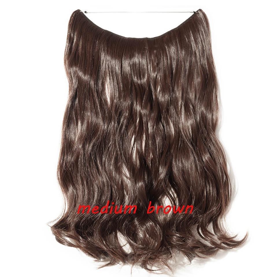 S-noilite 20 дюймов невидимый провод без заколки для волос Расширения секретная Рыбная линия шиньоны шелковистые прямые настоящие натуральные синтетические - Цвет: M4