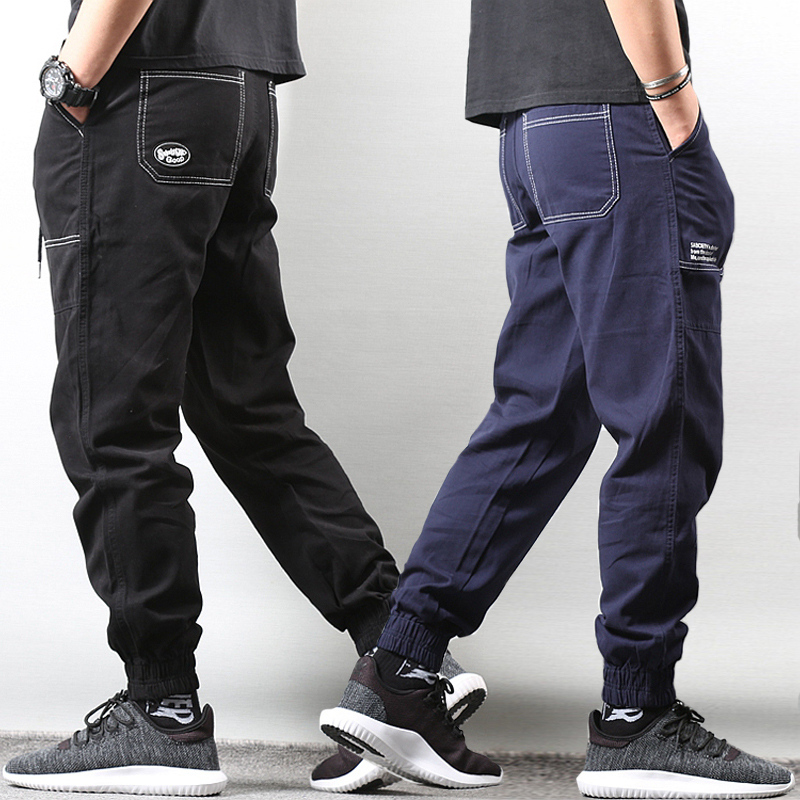 Japanese Style Fashion Men   Jeans   Loose Fit Casual Big Pocket Cargo Pants Men Slack Bottom Hip Hop Joggers Harem Pants Homme