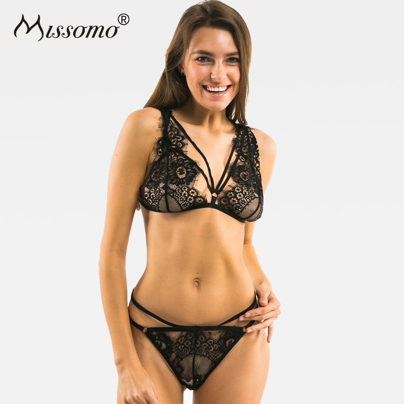Missomo Women Sexy Lace Mesh Bra Brief Sets Bandage Straps Push Up Soft Flimsy Black Perspective  Female Lingerie
