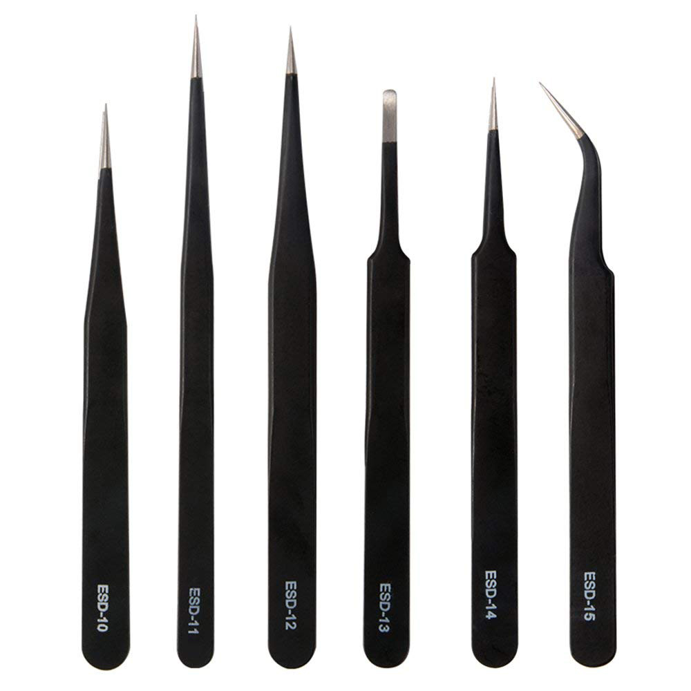 6pcs ESD Professional Coated Precision Tweezers Anti-static Anti-magnetic for Jewellery Electronic Component Soldering AD075