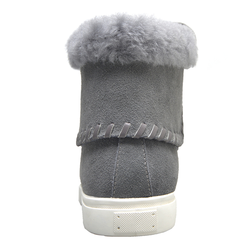Oveja De Cálida Invierno Flufft Cuero Nieve gris Zapatos Negro Para Remaches Botas marrón Stylesowner Mujeres Plataforma Genuino Gamuza Lana CEtnwdCq