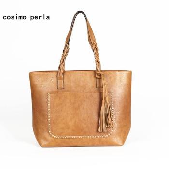Large Causal Women Handbags Top Handle Totes Tassel PU Leather Luxury Designer Retro Fashion Ladies Shoulder Bags Shopper Purse grande bolsas femininas de couro