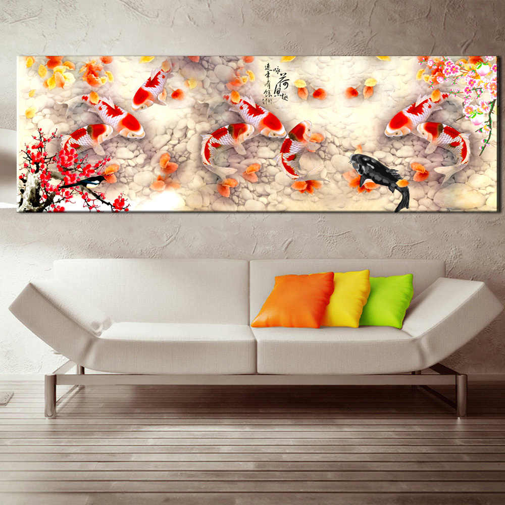 Wall Art Picture HD Print Chinese Abstract Nine Koi Fish Landscape Oil Painting on Canvas Poster For Living Room Modern Decor