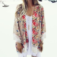 2017 New Women Flower Prints Blouse Floral Shirts Loose Japan kimono cardigan Long Chiffon blouse open cardigans for women
