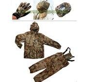 ماء التمويه صيد الملابس تنفس موقع قراء البدلة سترة + مريلة السراويل فضفاضة + قبعة + منديل + قفازات