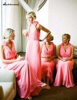 Пикантные V образным вырезом арбуз шифон Длинные платья невесты со складками цветок привлекательный Коралл Свадебная вечеринка платья для
