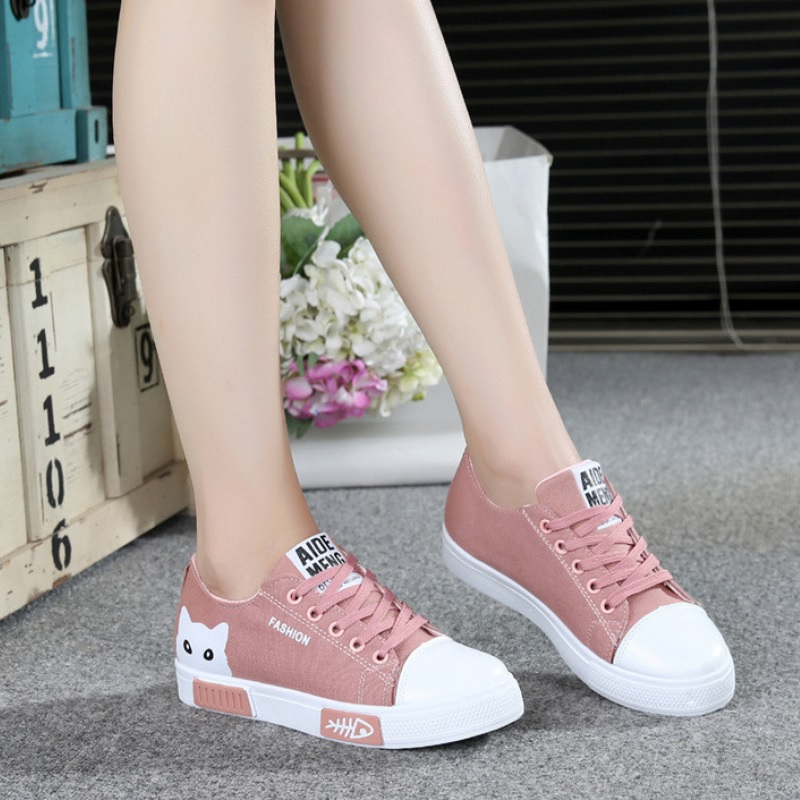 Buy Fashion Women Sneakers Denim Casual Shoes Female Summer Canvas Flats Ladies Lace-Up Women Canvas Shoes Loafers for only 22 USD