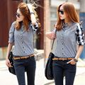 Plush Size Fashion Korean Style Women's Summer Tops T shirt Casual Long Sleeve Plaid Tops Tee T-Shirt Clothes