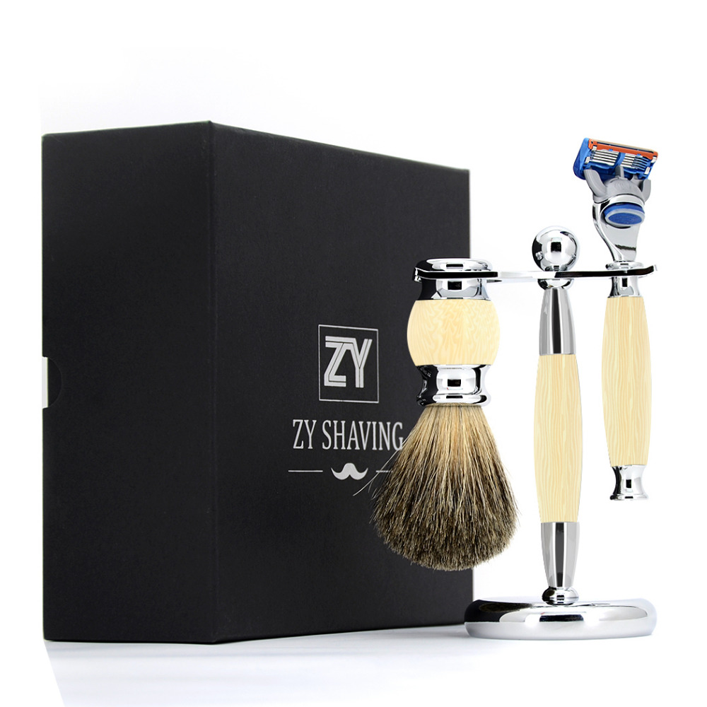 ZY Men 3 / 5 / Double Edge Blade Shaving Gift Set Pure Badger Hair Shave Beard Brush Safety Blade Razor Knife Stand Holder 3pc set stainless steel badger shaving brush safety razor stand holder
