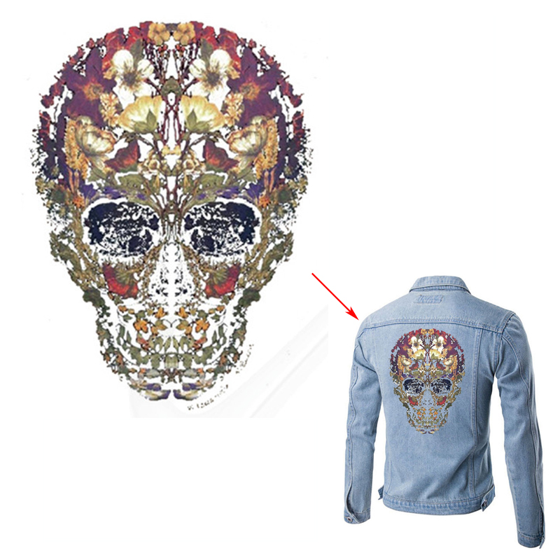 Nueva West Coast Skeleton Style Patches 21 * 28 cm Un nivel de hierro de transferencia de calor lavable en parches para ropa decoración romántica