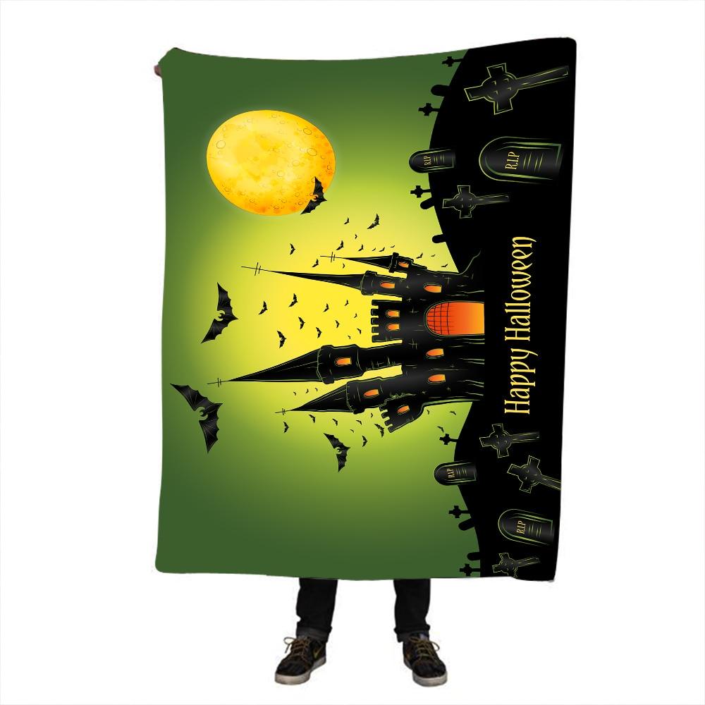 Halloween Night Reversible Sherpa Blanket Vintage Fleece Flower Black White Gothic Bedding