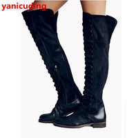 Luxury Brand Fashion Cool Winter Women Boots Mixed Color Design Round Toe Over Knee Boots Adult Girl Students Warm Long Booties