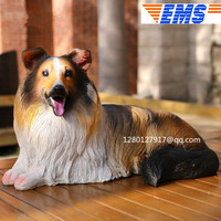Simulation Animal Rough Collie Statue Home Decor Garden Decoration Cute Puppy Statue Resin Action Figure Collectible Model Toy