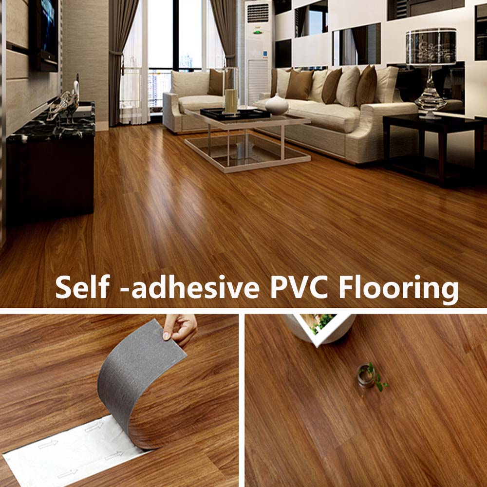 Vinyl flooring tiles avoid glue pvc self adhesive floor home decor household - Parquet pvc autocollant ...