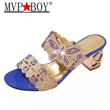Mvp Boy Summer Crystal Slippers New Platform Shoes Woman Casual High Heels Slip On Flip Flops Plus Size 35-41 Zapatos Mujer