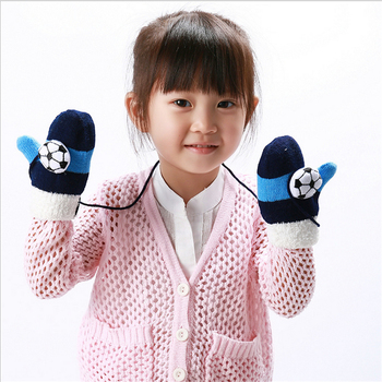 Kids Winter Thick Knitted Lanyard Gloves Girls Children Winter Hand Accessories Cartoon Design Mittens guantes