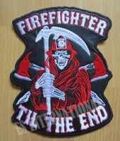 6.4 pouces crâne Reaper pompier pompier grands patchs de broderie pour veste moto motard 16.3 CM * 12.5 CM
