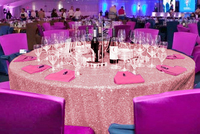 156in Round Pink Gold Sequin Tablecloth Fuchsia Pink Glitz overlays For Christmas Wedding Birthday and orther Events Party 927k