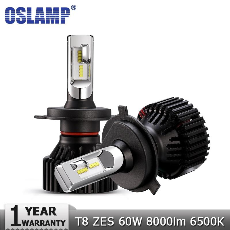 Oslamp H4 High Beam Basso H7 H11 9005 9006 LED Auto Lampadine Del Faro 12 v 24 v ZES Chip 60 w 8000LM Led Auto Faro Ha Condotto La Luce 6500 k