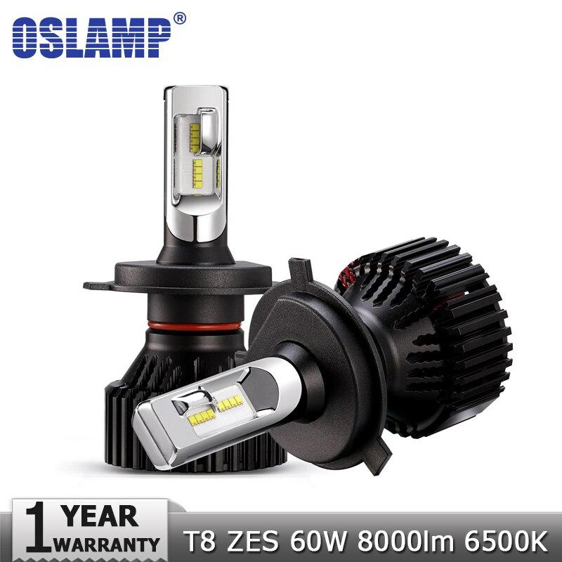 Oslamp H4 High Beam Basso H7 H11 9005 9006 LED Auto Faro lampadine 12 v 24 v ZES Chips 60 W 8000LM Led Auto Faro Della Luce di Nebbia 6500 K