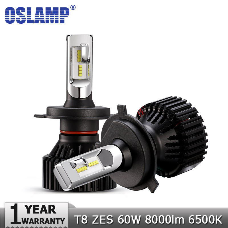 Oslamp H4 High Low Beam H7 H11 9005 9006 LED Car Headlight Bulbs 12v 24v ZES Chips 60W 8000LM Led Auto Headlamp Fog Light 6500K цены