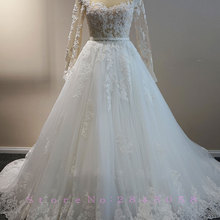 Waulizane Scoop A-Line Wedding Dresses Beading Full Sleeves