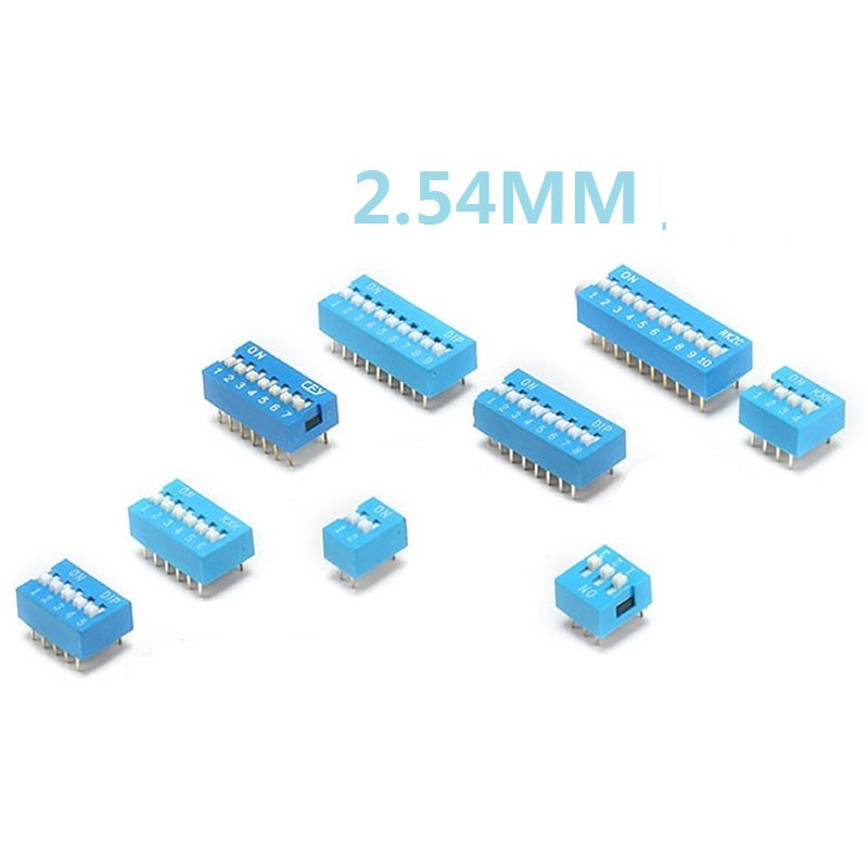 DIP Switch Slide Type Blue 2.54mm Pitch 2 Row DIP Toggle switches 2 \ 3 \ 4 \ 5 \ 6 \ 8 \ 10 Positions 06 100pcs ht1380 ht dip 8