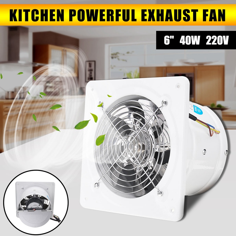 Warmtoo 6 Inch 40W Duct Booster Fan Exhaust Blower Air Cleaning Cooling Vent Metal Blade Window Wall Bathroom Kitchen Toilet Fan