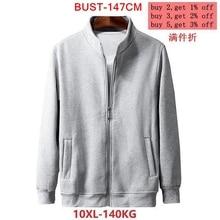 Mens large size jacket autumn and winter long sleeve 6XL 7XL 8XL 9XL 10XL black gray cotton zipper large size casual jacket
