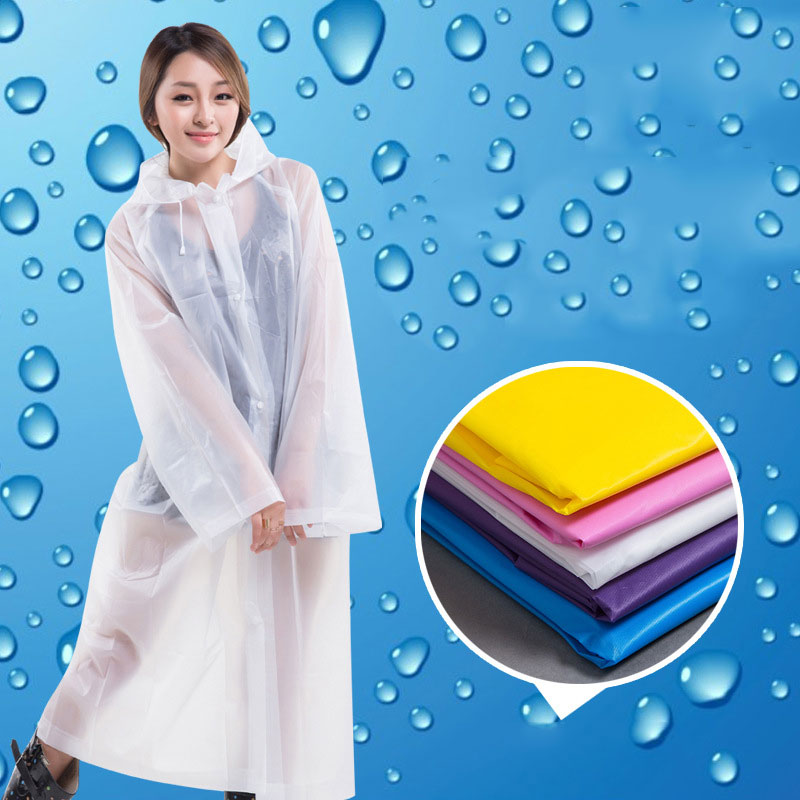 Fashion Women EVA Transparent Raincoat Poncho Portable Environmental Light Raincoat Long Use Rain Coat 66CY(China)