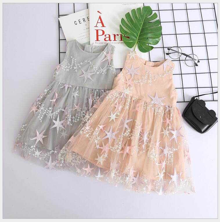 shiny sparkles star kids girls sequins lace dress children princess tiered sundress baby girls embroidery cute party dress