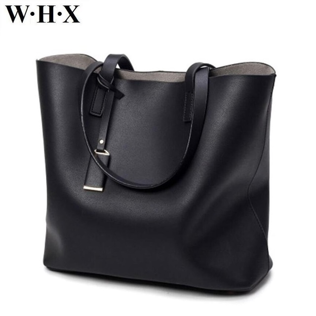 WHX Latest New Style Women Totes Bag Handbag Large Capacity PU Leather For Female  Purse Black Shoulder Sling Women s Tote Bags b9453ff343