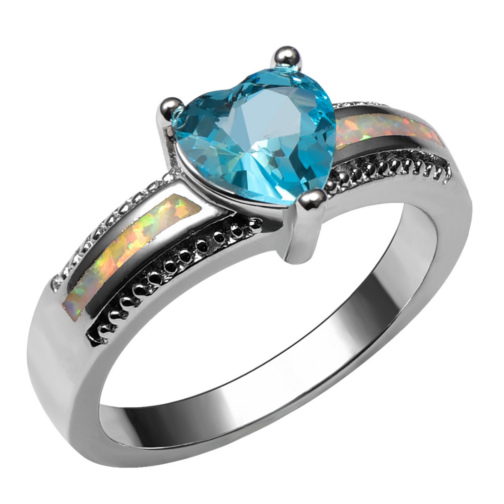 White Fire Opal Simulated Aquamarine 925 Sterling Silver Ring Beautiful Jewelry Size 6 7 8 9 10 R1401