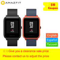 xiaomi Huami Amazfit Bip Smart Watch English/ Spanish/ Russian GPS Smartwatch Android iOS Heart Rate Monitor free gift strap