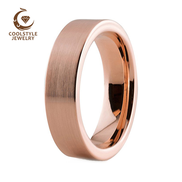 6mm Rose Gold Color Traditional Tungsten Wedding Band Enagement Ring For Men And Women Matte Finish