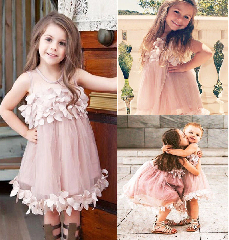 1 To 7 Year Kids Girls Princess Dress Little Baby Girl Summer Pageant Dresses Sleeveless Flower Tulle Petal Party Dresses