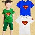 2016 nuevos de moda infantil Camiseta Superman Camiseta impresión linda niños y niñas de verano de algodón de manga corta Camiseta gratis gratis
