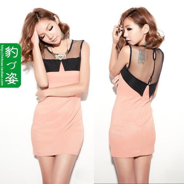 2012 black gauze sexy patchwork slim hip dress one-piece dress free shipment