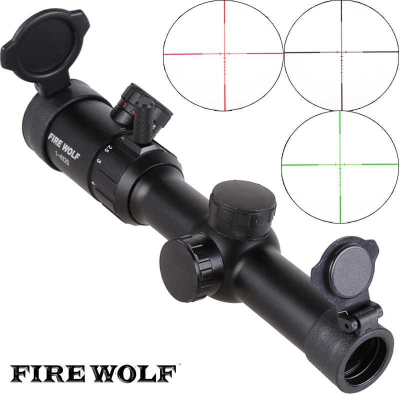 FIRE WOLF New 1-4X20 Riflescopes Rifle Scope Hunting Scope w/ Mounts Free shipping wolf 305528 w