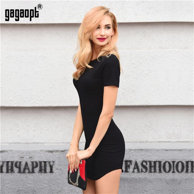 Gagaopt Autumn/Summer Dresses Women 95%Cotton Black Solid Open Side Beach Dress Office Dresses Casual Jurken Robe Femme Vestidos