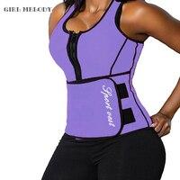 Workout Neoprene Waist Trainer Corsets Sauna Top Vest Zipper Sweat Hot Body Shaper Hot Adjustable Slimming